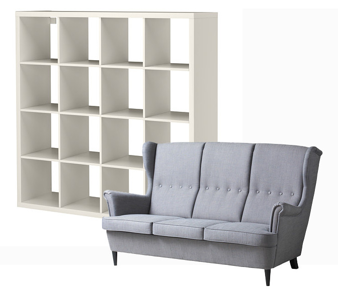Ikea Strandmon Sofa Kallax Bookcase Rags To Couture